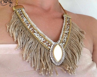 V shaped necklace, Special occasion jewelry, Braidsmaid gifts, Prom jewelry, Elegant necklace, Silver rope chain, Tassel necklace,  Luxury