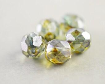 Brown Aqua Beads, Glass 8mm Beads, Five