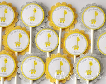 Yellow and Gray Giraffe Baby Shower Cupcake Toppers Personalized Cupcake Picks Gender Neutral Birthday Set of 12