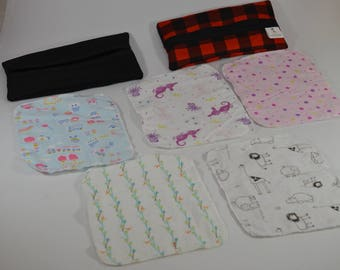 10 handkerchiefs / baby wipe washable, reusable, recycled eco-friendly. Ready to go!