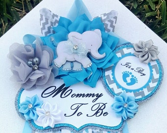 Baby Boy Elephant Baby Blue Gray Themed Mommy To Be Baby Shower Corsage or Badge