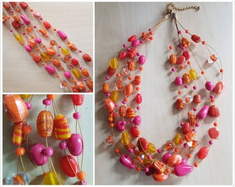 Multi strand Yellow, Pink and Orange Glass Necklace - glass beaded necklace - 5 strand necklace - glass bead necklace