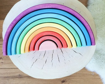 Wooden stacker | Rainbow stacker | Wooden toy | Sunset stacker | Waldorf stacker | Waldorf toy | Stacking toy |