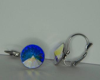 Winter Fire Swarovski Silver Blue Drop Earrings