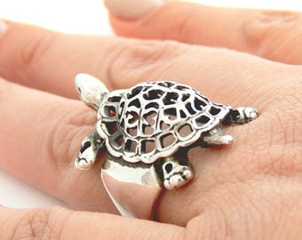 Turtle ring - Silver turlte ring - Turtle jewelry - Tortoise ring - Animal jewelry -Women's silver ring - Valentine's day gift