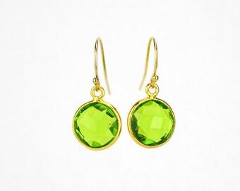 Peridot earrings, Minimalist Round Gemstone Dangle Earrings,  Bridesmaid Earrings, August Birthstone Earrings Gold Framed Stone Mothers day