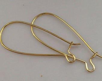 x 26 gold 33mm nickel free brass earring hook
