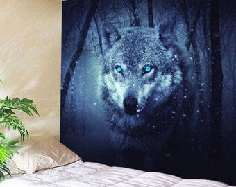 Tapestry Wall Hanging Throw Wolf and Moon