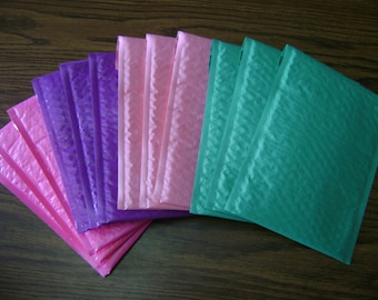 40 6x9  Color Bubble Mailer Self Seal Adhesive Envelope Protective Sturdy Padded Lightweight Ship Mailer Teal, Purple, Light Pink, Hot Pink