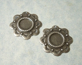 2 - Antique Silver Plated Southwestern Charms, Concho Charms, 11mm Cabochon Settings, Earring Drops, Earring Components