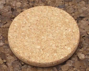 Round natural cork coasters for crafting - 4 pc.