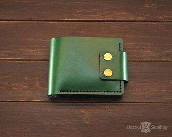 Green leather wallet, billfold wallet, wallet with coin pocket, wallet for men, handmade leather wallet SW0071g
