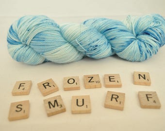 """Hand-dyed yarn, """"Frozen Smurf"""" variegated, speckled, soft and squishy yarn. Great for socks or shawls. 80/20 Superwash wool/Nylon"""