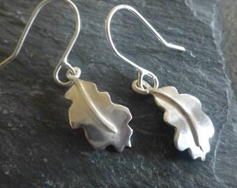 Silver Oak Leaf Drop Earrings