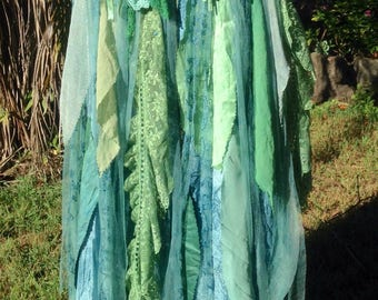 Bohemian Gypsy SKIRT Mori Girl Forest Fairy Lagenlook.Mermaid colours of pastel teal,green,blue. Gorgeous silks & rayon, vintage laces