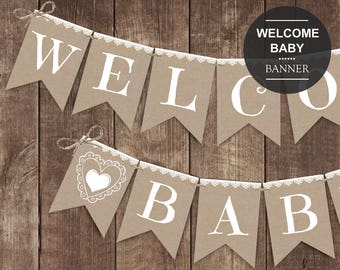Rustic Baby Shower banner printable, white lace banner, gender neutral baby shower decorations, Welcome baby banner, baby shower decor