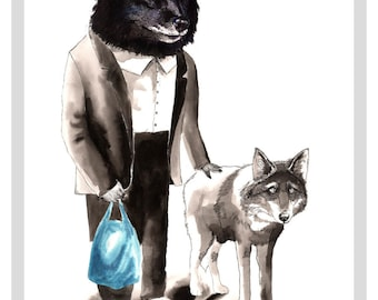 Mr Wolf Walking His Wolf A3 Print