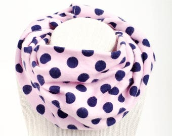 Flannel polka dot scarf, Baby infinity scarf, Gift for Baby Girl, Toddler Gift, Baby scarf with snaps, Navy blue & pink, Teething scarf bib