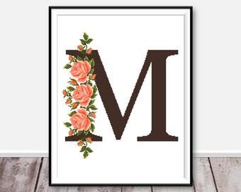 Monogram M cross stitch pattern Floral cross stitch Flower embroidery Letter M xstitch Modern cross stitch PDF Counted cross stitch chart