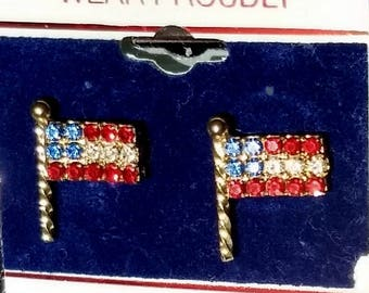 USA FLags Rhinestones Vintage Earrings America Red White Blue Sparkle Mid Century July 4th Independence Day Patriotic Pierced Original Card