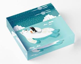 "Hitching A Ride - Polar Bear and Penguin - Acrylic 'Ice' Block - Children's Decor - Kids room - Nursery Decor - 6"" x 6"" -  iOTA iLLUSTRATION"