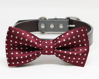 Dog Bow Tie Burgundy Leather collar, Handmade, Pet wedding, Puppies Birthday