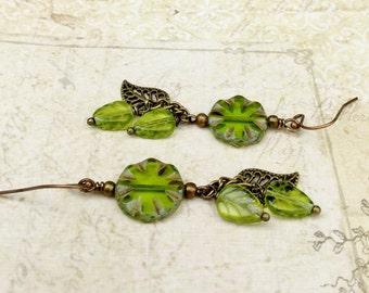 Green Earrings, Peridot Earrings, Leaf Earrings, Green Leaf Earrings, Long Green Earrings, Czech Glass Beads, Long Leaf Earrings, Gifts