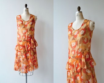 Fireflower dress | silk dress | vintage 1920s dress | floral silk 20s dress
