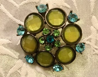 Green and Blue Jewel Brooch