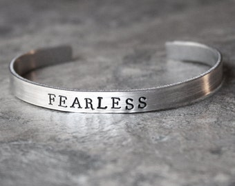 Fearless Bracelet, Fearless Jewelry, Motivational Inspiration Cuff racelet, Fitfam, Fitspo, Handstamped, Fitness Bracelet, Empower