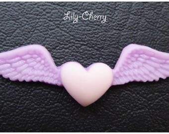 Resin cabochon light pink and purple winged heart x 1