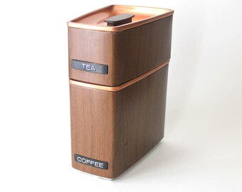 Metal Faux Woodgrain & Copper with Faux Dymo Label  Coffee and Tea Canisters