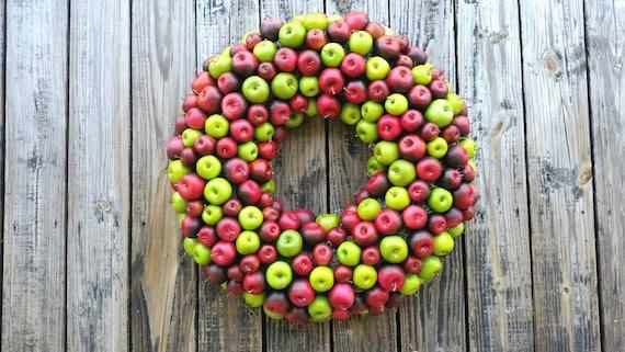Apple Wreath, Green and Red Apple Wreath, Christmas Wreath, Holiday Wreath, Fall Wreath, Autumn Wreath