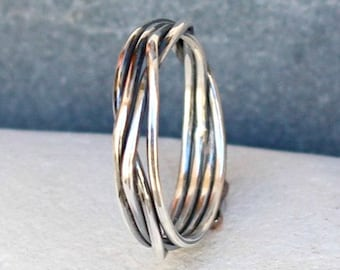 Sterling Silver Ring / Band.. Best Gift.. Hammered oxidized sterling silver Ring / Wedding Band.. Custom / Personalized Ring..