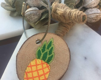 Wooden Key Chain - Pineapple