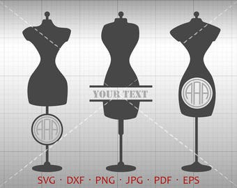 Sewing Dress Form SVG, Tailor Monogram Frame with Circle Font, Dressmaker Clipart Vector Silhouette Cricut Cut File Commercial Use