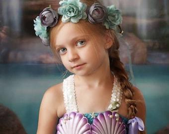 blue Mermaid costume dress,mermaid birthday Tutu dress,mermaid dress with trail, under the sea birthday dress, blue mermaid birthday dress