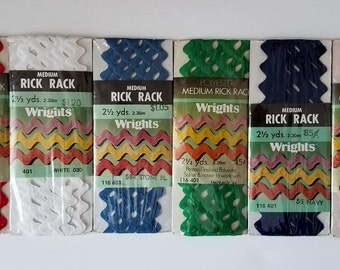 Vintage Wrights Medium Rick Rack Package - 2 1/2 yards - Stone Blue - Navy Blue - Emerald Green - White - Pink- Scarlet Red