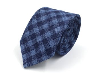Navy Necktie, Navy and Blue Gingham Necktie, Navy Blue Necktie - Traditional Width or Skinny Tie