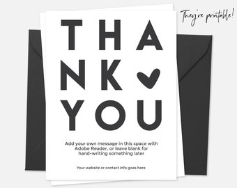 Business Thank You Card Printable, Instant Download, Etsy Thank You, Poshmark Thank You, Printable Thank You Cards, Editable Thank You Note