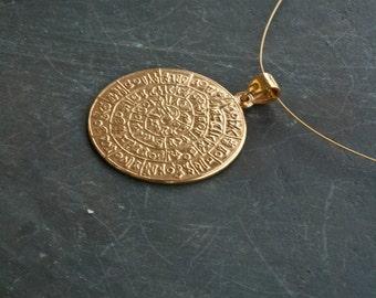 Gold Greek Phaistos Disc Necklace, Ancient Minoan Cretan Necklace, Sterling Gold Plated 24k  , Greek Mystery, Wearable Art, Greek Jewelry