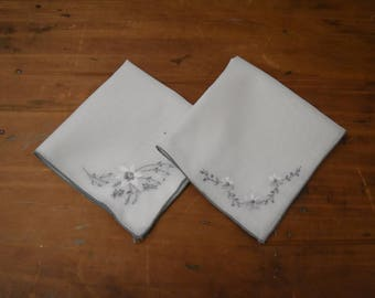 White Handkerchief Set - Gray Embroidered Hankies - Wedding Keepsake - Wedding Hankies - Mother of the Bride/Groom Hankies