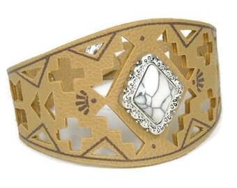 Wide Leather Bracelet - Adjustable Leather Bracelet - Cowgirl - Southwest - Western - Aztec Cutout Bracelet - Gemstone Cabochon - Southwest