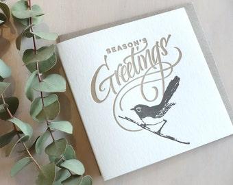 Letterpress Christmas card, hand lettered, Australian willie wagtail wren bird, Season's Greetings holiday card made in Australia