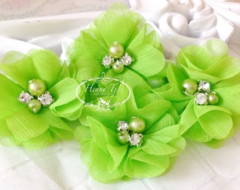 NEW: 4 pcs Aubrey Bright LIME GREEN  - Soft Chiffon with pearls and rhinestones Layered Small Fabric Flowers, Hair accessories