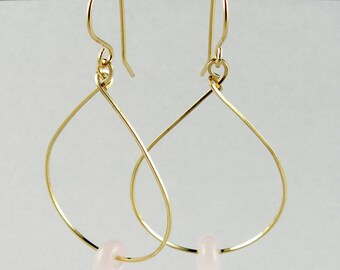 14k Gold Baby Pink Alabaster Lampwork Glass Long Dangle Teardrop Hoop Earrings