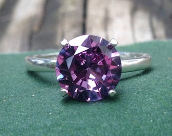 Alexandrite Ring, Sterling Silver Ring with 8mm Color Change Alexandrite, Wedding Ring, Proposal Ring, Engagement Ring, Vintage Style