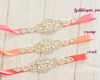 Bridal Sash-Rhinestone Belt -Flower Girl Sash-Bridal Belt/ Sash-Bridesmaid Coordinating Sashes..Maternity Sash / Wedding Sash