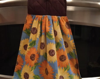 Blue Sunflower Hanging Kitchen Towel