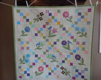 Irish Chain with Bluebirds and Flowers, Country Decorator quilt 0105-02